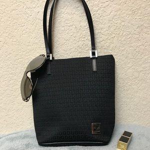 Fendi Black Canvas Monogram Mini Tote Bag
